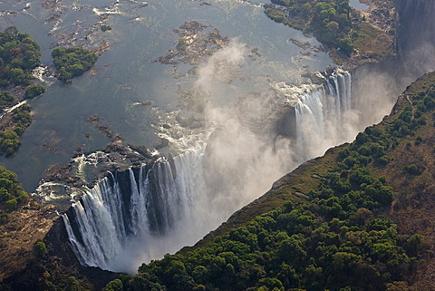 Helicopter flying above Victoria Falls, Zambia, Zimbabwe, Africa