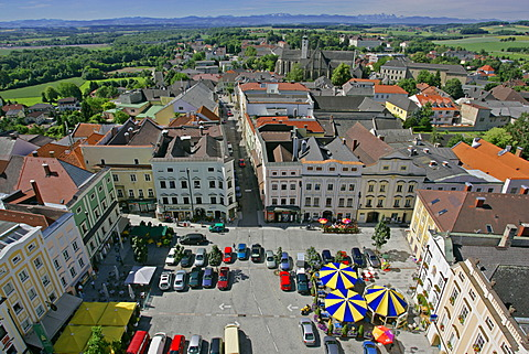 View from the clock tower to the main square and to the St Marien church of the town of Enns Upper Austria
