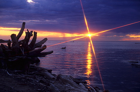 Sunset on the Great Slave Lake, Northwest Territory, Canada, North America