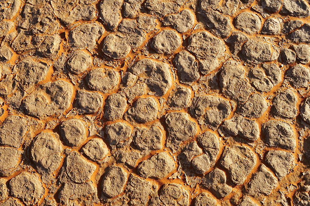 Broken surface of a salt and clay pan, In Tehak region, Acacus Mountains or Tadrart Acacus range, Tassili n≈ΩAjjer National Park, Algeria, Sahara, North Africa