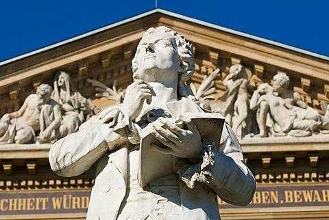 Goethe memorial, Hessian Theatre, Wiesbaden, Hesse, Germany