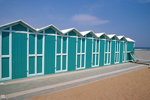 Beach hut on Adria in Riccione, Rimini, Italy