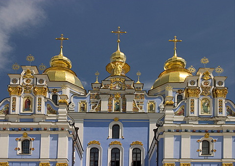 Ukraine Kiev golden domes from St. Michel Monastery golden domes and crosses shines in sunlight wall paintings Fresken with blue sky 2004