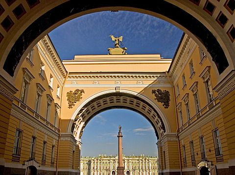 GUS Russia St. Petersburg 300 years old Venice of the North Gate from General Staff Building to the big Square with Alexander Columne built in 1834 by Architect Auguste Montferrand near Eremitage Winter Palace Visitors and Tourists