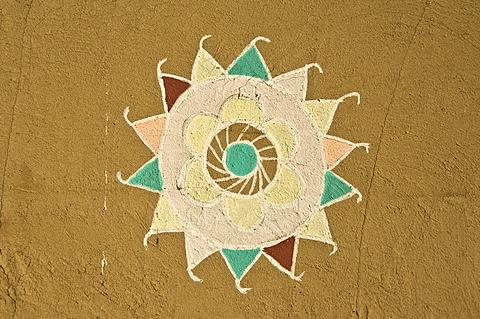 Painted Rajput motif, Jaisalmer, Thar Desert, Rajasthan, India, South Asia