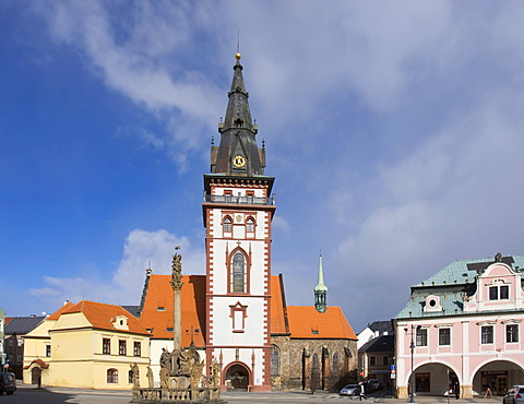 Holy Trinity Column and the City Tower in Chomutov, North Bohemia, Czech Republic, Europe