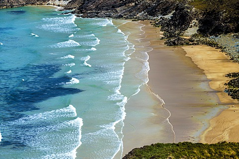 Ocean surf at a sandy bay, Tranarossan Bay, County Donegal, Republic of Ireland, Europe