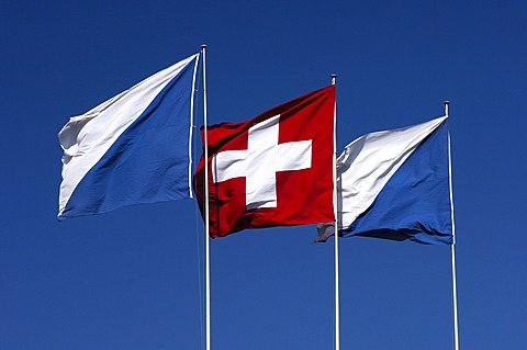 Flags of Switzerland and the Canton Zurich, Zurich, Switzerland
