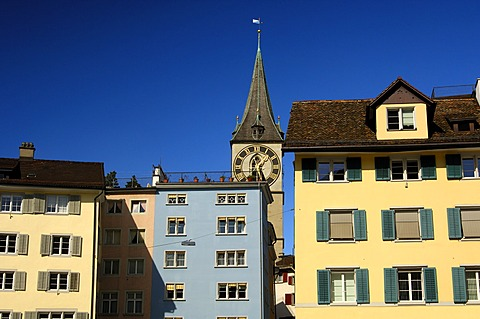 Muensterhof and church St. Petri in the old town, Zurich, Switzerland