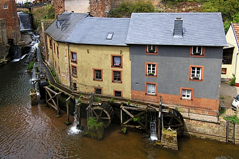 Mill museum Hackenberger Muehle, water mill complex of three staggered mills, Saarburg, Rhineland-Palatinate, Germany, Europe