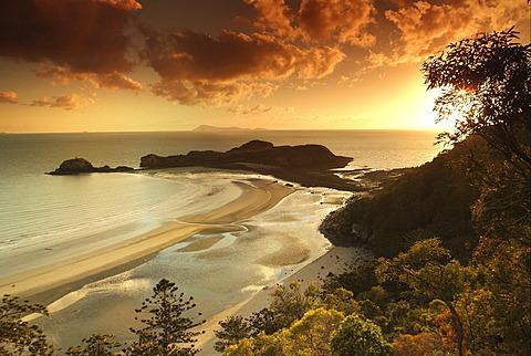 Sandy beach at sunset, Hinchinbrook Island, Queensland, Australia
