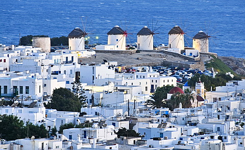 Windmills, the landmark of Mykonos, Cyclades, Greece, Europe