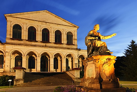 Illuminated monument to King Ludwig I. in front of the Kursaal building, Bad Brueckenau, Rhoen, Lower Franconia, Bavaria, Germany, Europe