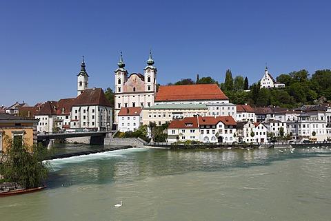 St. Michael Church, Steyr River joining Enns River, Steyr, Upper Austria, Austria, Europe