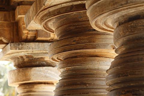 Turned stone pillars, Kesava Temple, Keshava Temple, Hoysala style, Somnathpur, Somanathapura, Karnataka, South India, India, South Asia, Asia