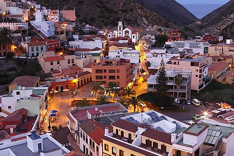 Vallehermoso at dusk, La Gomera, Canary Islands, Spain, Europe