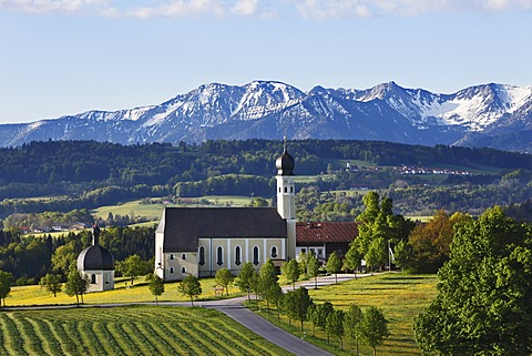 Pilgrimage church of St. Marinus and Anian in Wilparting, community of Irschenberg, Mangfall Mountains, Oberland region, Upper Bavaria, Bavaria, Germany, Europe