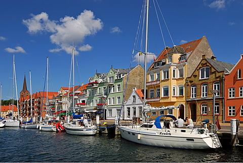 Sailing boats in the harbour of Sonderborg, Region Syddanmark, Denmark, Skandinavia, Europe