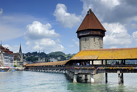Lucerne - the chappel\'s Bridge an old part of town - Switzerland, Europe.
