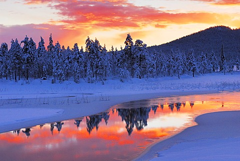 Small Stream in Sunset, Swedish Lappland, North Sweden