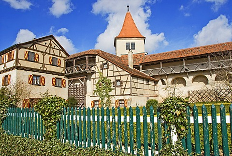 Inner courtyard, Harburg Castle, Mauren, Bavaria, Germany