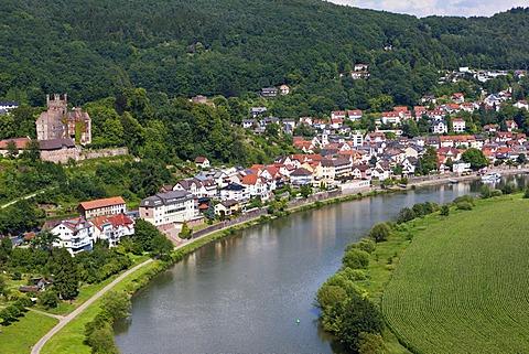 Neckarsteinach, Mittelburg Castle, Vierburgeneck, Neckartal Nature Park, Neckar River, Odenwald, Hesse, Germany, Europe, PublicGround