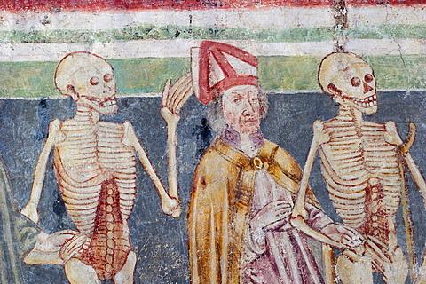 Danse macabre - Frescos in the church Sv. Trojica ( Hl. Trinity ) in Hrastovlje - painted 1490 by Johannes von Kastav - Slovenia