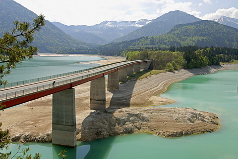 Water shortage in April 2007, Lake Sylvenstein, Upper Bavaria, Germany