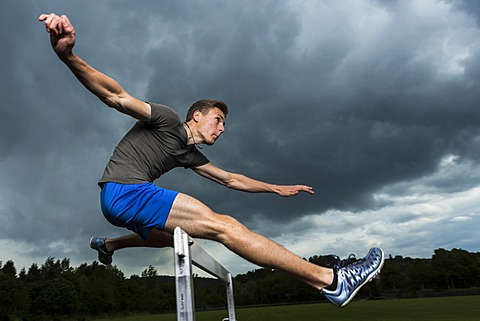 Athlete, 19 years, jumping hurdles, Winterbach, Baden-Württemberg, Germany