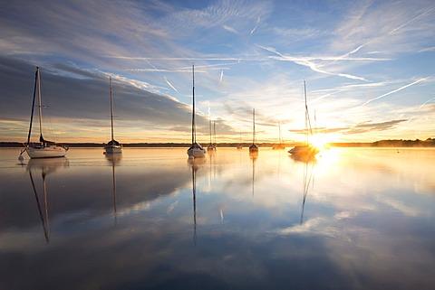 Early morning, boats on Lake Starnberg near Tutzing, Bavaria, Germany, Europe, PublicGround