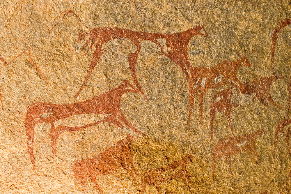 Prehistoric rock painting at Jebel Uweinat, Jabal al Awaynat