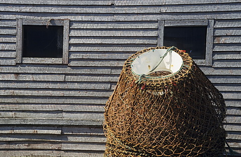 Old silvery shimmering wood on a fishing cabin, Newfoundland