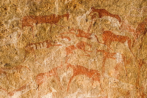 Prehistoric rock painting at Jebel Uweinat, Jabal al Awaynat, Libya