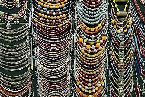 Silver necklaces at a souvenir shop in the bazaar of Sana´a, Yemen