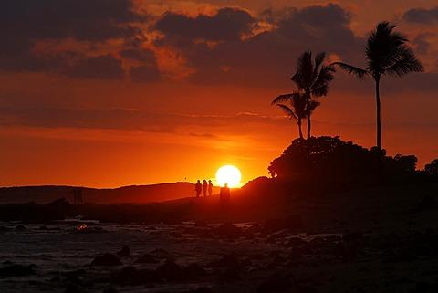 Sunset, Old Airport Beach, Kailua-Kona, Big Island, Hawaii, USA