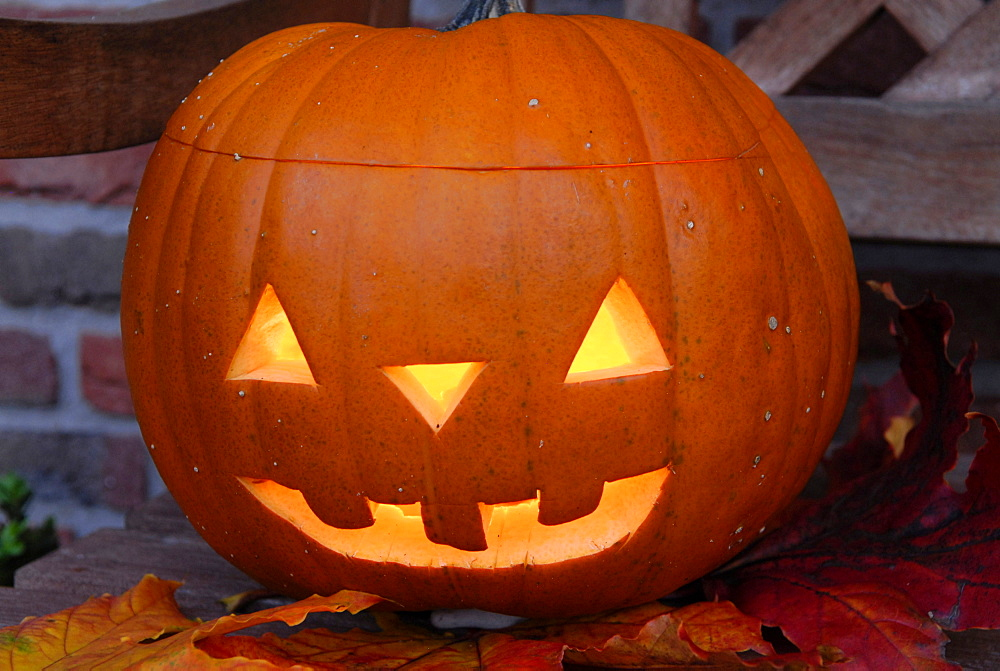 Pumpkin with carved face
