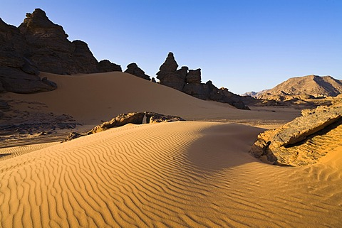 Rock formations in the Libyan Desert, Akakus Mountains, Libyan Desert, Libya, Africa