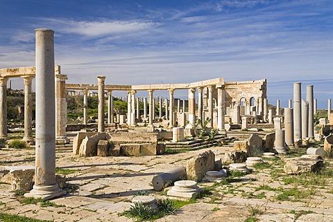 Punic market, Leptis Magna, Libya, North Africa, Africa
