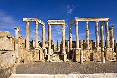 Ruins of the ancient theatre of Leptis Magna, Libya, North Africa
