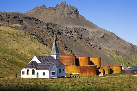 Church of Grytviken, former whaling station, King Edward Cove, South Georgia, South Sandwich Islands, British Overseas Territory, South Atlantic Ocean, Subantarctic, Antarctica