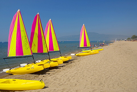 Sailing-boats, club, San Augustino Resort, beach, Peloponnese, Greece
