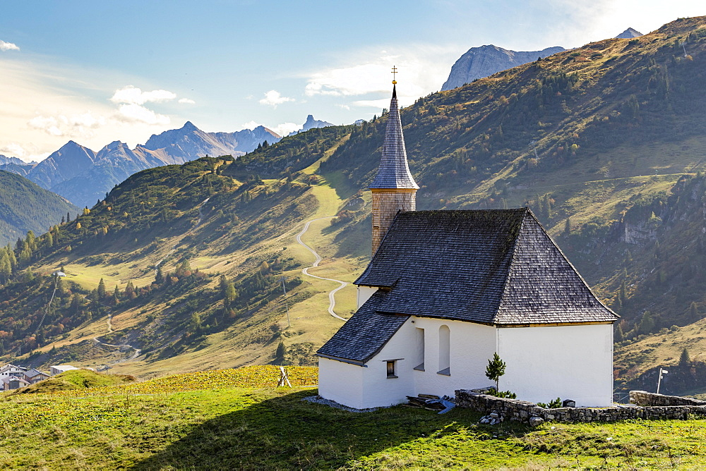 St. Jakobuskapelle on the Hochtannbergpass, Vorarlberg, Austria, Europe