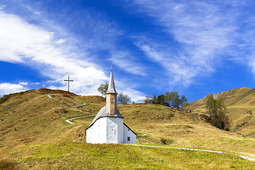 St. Jacob's chapel on the Simmel, Hochtannbergpass, Vorarlberg, Austria, Europe - 832-378976