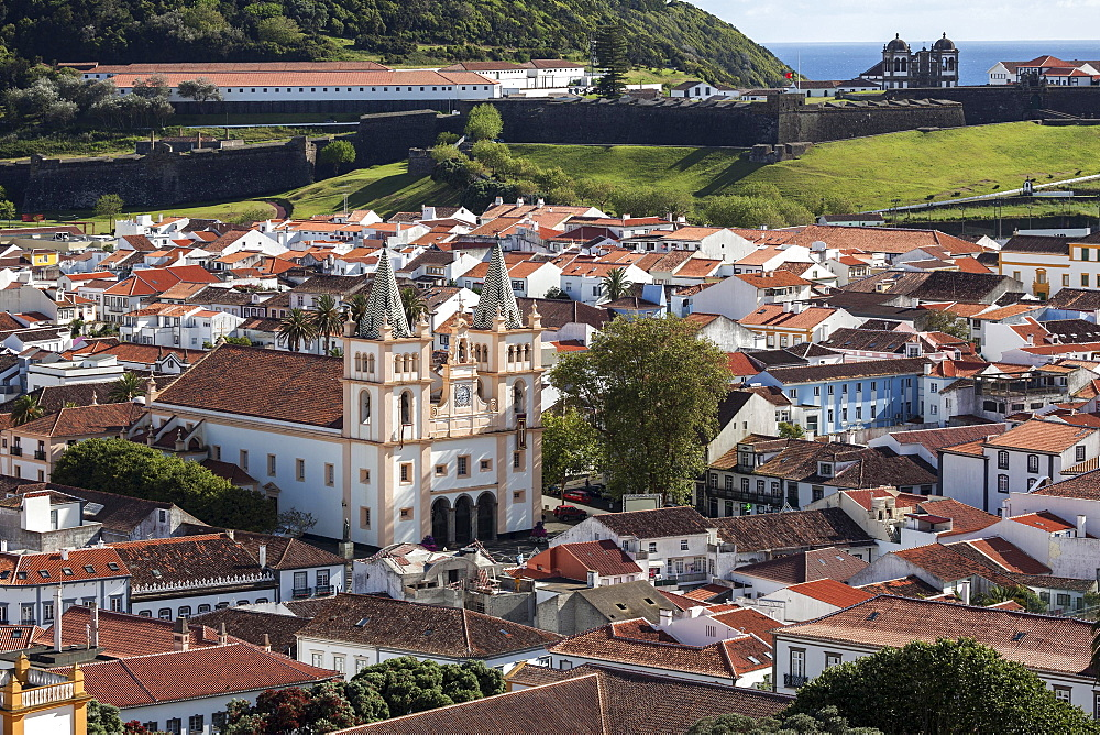View from the Alto da Memoria to the old town of Angra do Heroismo, central cathedral, Cathedral, Se Catedral, Igreja de Santissimo Salvador da Se, UNESCO World Heritage Site, Terceira Island, Azores, Portugal, Europe