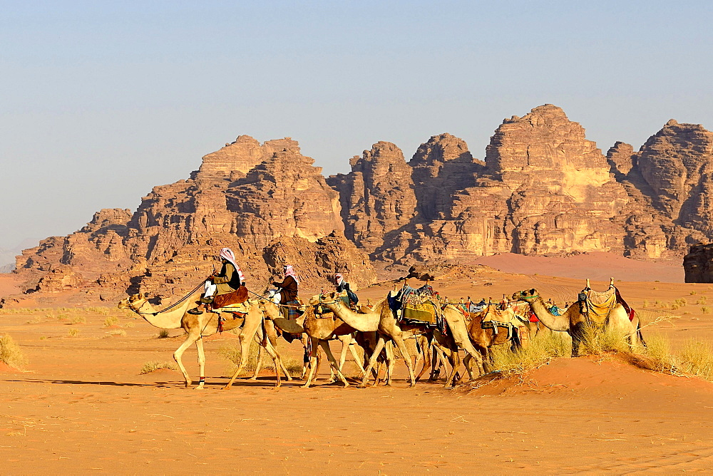 Bedouins with Camel Caravane at Wadi Rum, Jordan, Asia - 832-379176