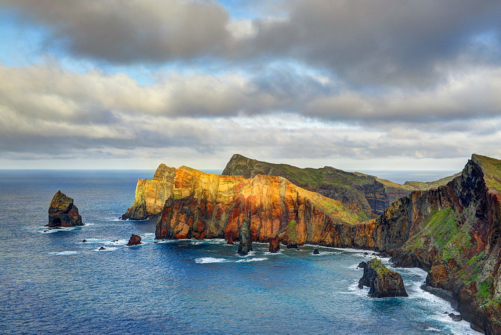 Rocky coast at the Ponta da Sao Lourenco, eastern tip of the island Madeira, Portugal, Europe