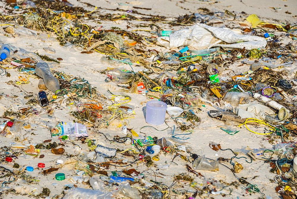 Trash strewn on Long Beach, Sok San Village, Koh Rong Island, Krong Preah Sihanouk, Sihanoukville, Cambodia, Asia
