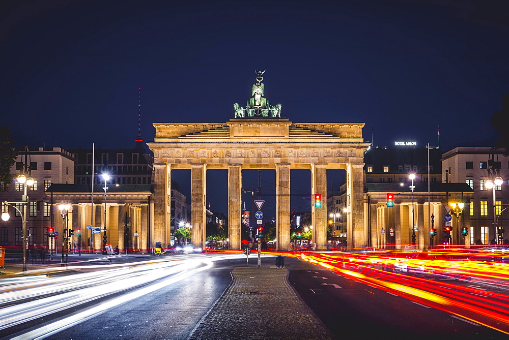 Brandenburg Gate with traces of light, illuminated at night, Berlin-Mitte, Berlin, Germany, Europe