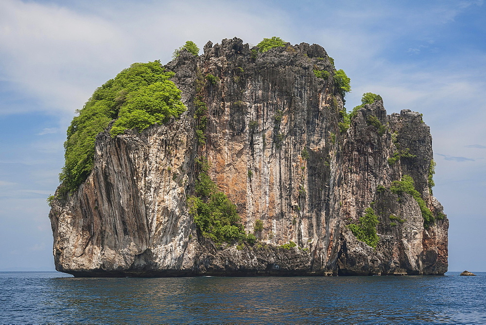 Limestone rock in the sea, Phuket, Thailand, Asia