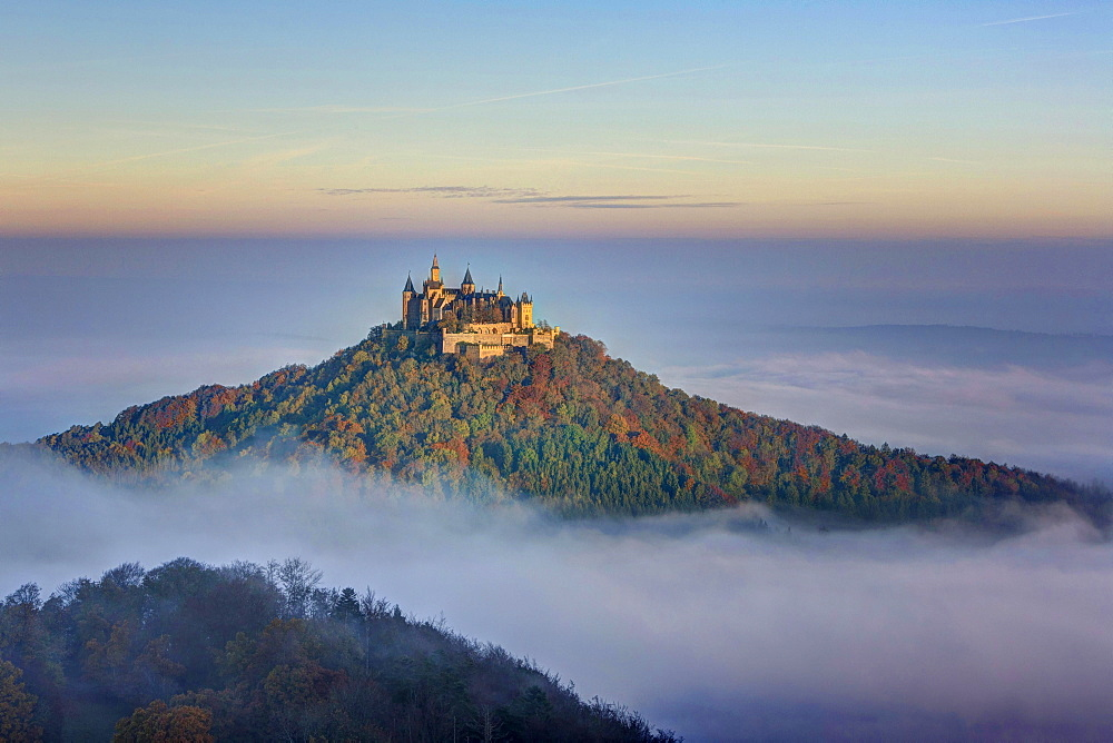 View from Zeller Horn onto Hohenzollern Castle above cloud cover, autumn, Albstadt, Baden-Württemberg, Germany, Europe